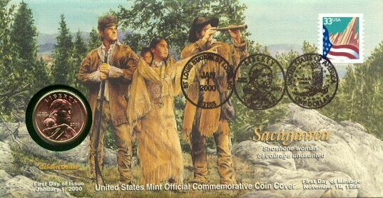 Sacagawea Dollar First Day of Issue Commemorative Coin Cover