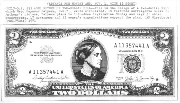 Susan B  Anthony $2 Bill