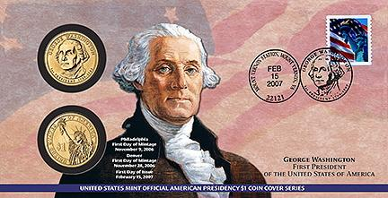 2007 George Washington $1 Coin Cover (P21)