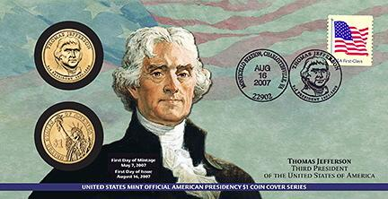 2007 Thomas Jefferson $1 Coin Cover (P23)